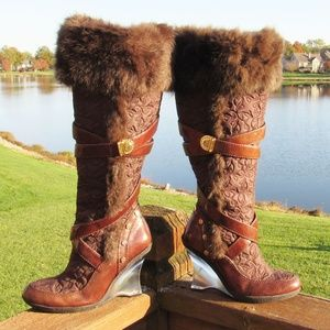 Baby Phat Odessa Faux Fur Lucite Wedge Knee Boots